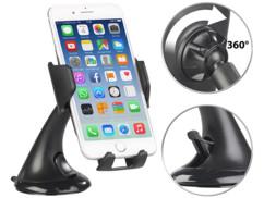 support à ventouse pour smartphone iphone sur pare brise et planche de bord avec chargeur sans contact Qi à induction