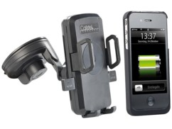 Support smartphone pour voiture avec chargeur compatible Qi + coque iPhone 4/4S