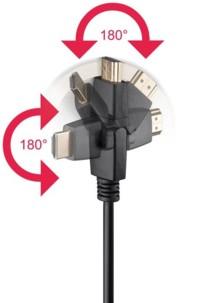 Câble HDMI 4K High Speed Ethernet avec connecteurs 360° - 3m