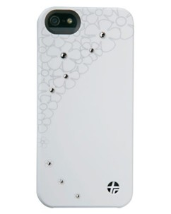 Coque cuir ''Crystal Flower'' pour iPhone 5 / 5S / SE – blanc