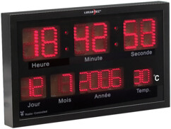 Horloge murale radio-pilotée à LED rouges