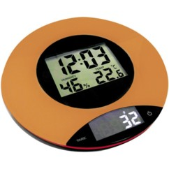 balance de cuisine digitale avec thermometre horloge hygrometre couleur orange INOBCE01