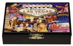 coffret de jeu en bois laqué avec peinture et 2 jeux de 52 cartes à jouer pour poker belote 421 black jack motif las vegas casinos mgm grand paris excalibur sphinx flamingo