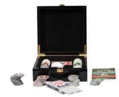 coffret de poker de luxe dans boite en bois laqué avec 100 jetons 4 couleurs et 2 jeux cartes à jouer hobby concept deauville