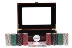 malette de poker texas holdem en bois laqué haute qualité avec 2 jeux de cartes et 200 jetons 4 couleurs