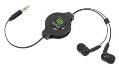 écouteurs intra auriculaires rectractables retrak 1,1 m