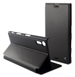 housse de protection a clapet folio pour smartphone sony xperia xz imitation cuir noir