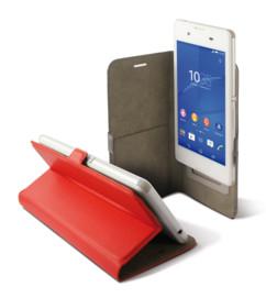 etui universel smartphone 6 pouces avec clapet folio et porte carte intérieur rouge Ksix