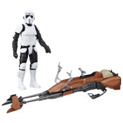 figurine articulée scout trooper endor avec speeder bike star wars episode vii jouet hasbro
