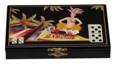 boite en bois style marqueterie avec jeu de dominos motif carnaval de rio brésil