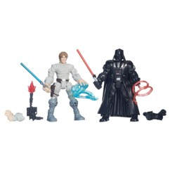 figurines luke et dark vador star wars hasbro hero mashers avec accessoires