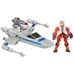 jouet x-wing star wars avec figurine pilote et canon laser hasbro hero mashers