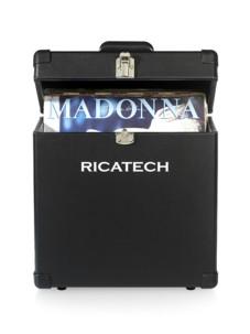 valise de protection et transport pour disques vinyle 45 tours style cuir noir retro