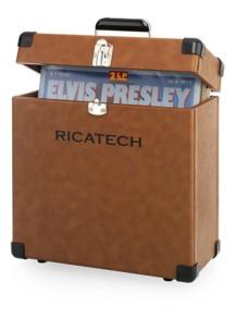valise de protection et transport pour disques vinyle 45 tours style cuir brun retro