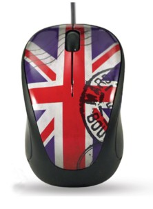Mini souris Elypse Vogue - Filaire - Motif Union Jack