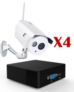 pack mini enregistreur hd 7links avec 4 cameras de surveillance wifi pour exterieur visortech