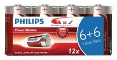 Piles alcalines LR14 Type C Philips - Pack de 12