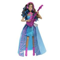 poupée barbie princesse erika rock et royales parlante chantante avec guitare electrique