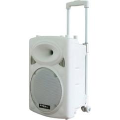 enceinte sono portable pour animateurs dj avec roulettes trolley lecteur mp3 bluetooth sans fil ibiza sound port12 blanc white