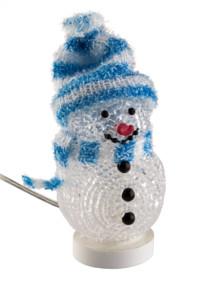 décoration lumineuse LED multicolore bonhomme de neige en maille laine alimentation USB goobay