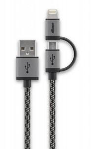cable usb micro usb tressé cabstone avec adaptateur lightning intégré