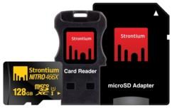 Carte Micro SDXC Strontium Nitro avec adaptateur SD et lecteur USB - 128 Go