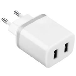 Chargeur USB secteur 2x 2,4 A  - Blanc