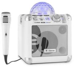 mini enceinte pour karaoké et guitare avec double entree micro et dome lumineux effets disco idance party cube bc10 blanc