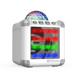 mini enceinte bluetooth avec stoboscope multicolore idance cm3 blanc