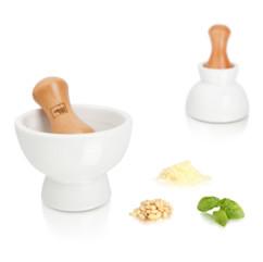 mortier de cuisine en bois et ceramique double position pour graines et herbes tomorrow's kitchen