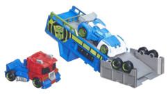 jouet transformers rescue bots avec optimus prime blurr remorque lanceur