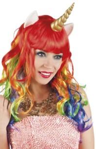 perruque licorne cheveux longs arc en ciel avec oreilles de poney et corne dorée deguisement coquin