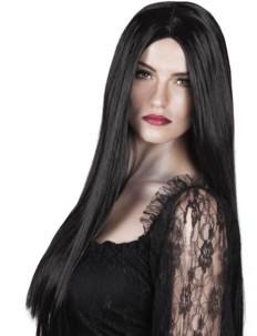 perruque longue raide noire femme vampire 61 cm