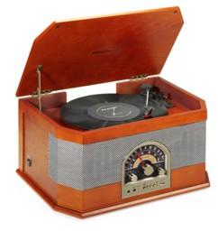 platine vinyle 33 45 78 tours ricatch rmc82 style retro vintage bois laqué avec radio fm haut parleurs et lecteur USB