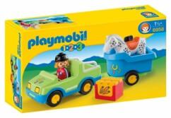 Playmobil 1 2 3 : Voiture avec remorque à cheval