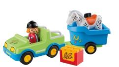 jouet bébé 1er age playmobil 1 2 3 voiture avec remorque et cheval 6958