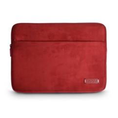 pochette velours et cuir pour macbook et notebook 13 14 port milano rouge