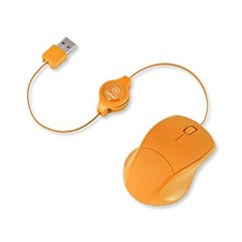 Souris optique filaire USB Retrak rétractable - Orange