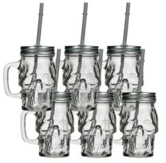 6 verres rétro style Tête de mort (35 cl)