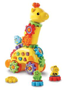 jouet parlant premier age zooz la girafe avec engrenages lumineux pour apprendre les formes et la motricité