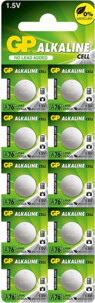 10 piles bouton LR44 GP Alkaline Cell