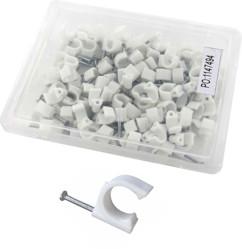 100 clips de fixation ronds 6 mm, coloris blanc
