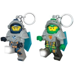 Lot de 2 porte-clés LED LEGO Nexo Knights Clay et Aaron.