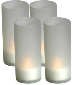 Pack de 4 bougies chauffe-plat à LED avec photophore