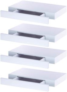 4 Étagères murales avec tiroir secret - Blanc