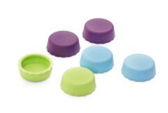 6 bouchons en forme de capsule réutilisables en silicone