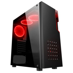 boitier pc gaming njoy santinel 4 ventilateur atx matx 7 baies eclairage led rouge