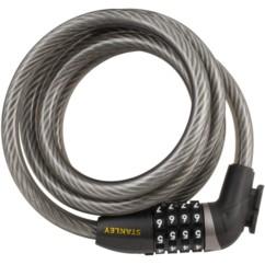 cadenas souple pour vélo stanley cable combi code 4 chiffres avec fixation cadre
