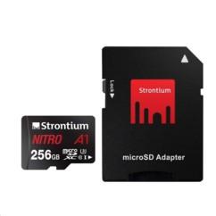 Carte Micro SDXC Strontium Nitro A1 256 Go avec adaptateur SD.
