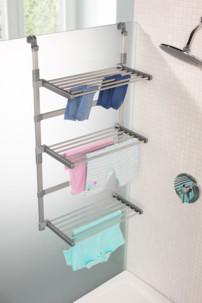 etendoir sechoir pour douche et salle de bains a suspendre avec crochets
